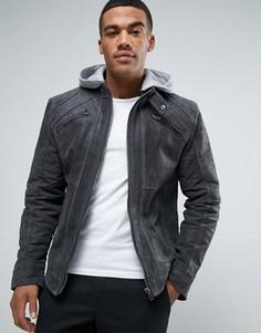 Замшевая байкерская куртка с трикотажным капюшоном Barneys Premium - Серый Barneys Originals