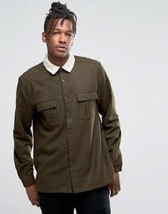 Свободная рубашка цвета хаки с меховым воротником ASOS - Зеленый