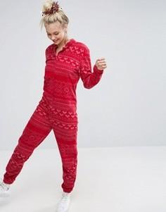 Флисовый новогодний комбинезон с традиционным узором Фэйр-Айл ASOS - Красный