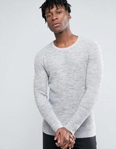 Фактурный вязаный джемпер из 100% хлопка с круглым вырезом Selected Homme - Серый