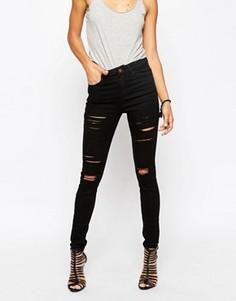 Черные рваные джинсы скинни с завышенной талией ASOS Ridley - Черный