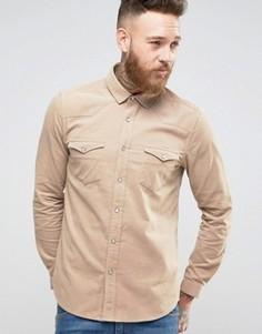 Вельветовая рубашка классического кроя в стиле вестерн ASOS - Stone