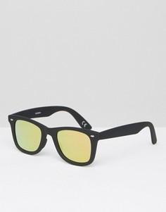 Черные квадратные солнцезащитные очки с розовыми стеклами ASOS - Черный