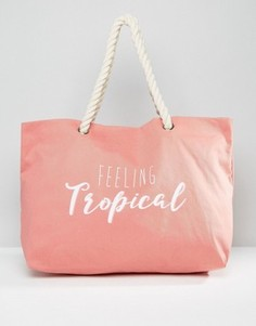 Пляжная сумка с принтом Feeling Tropical South Beach - Розовый