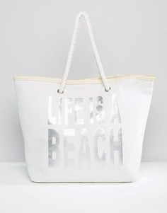 Пляжная сумка с принтом Lifes A Beach South Beach - Серебряный