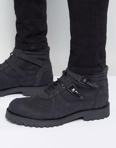 Черные замшевые ботинки на толстой подошве с ремешками ASOS - Черный