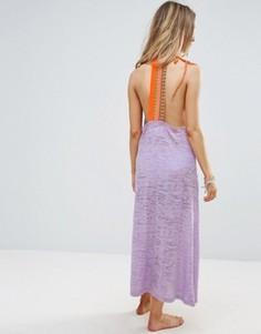 Пляжное платье макси с вышивкой на спине Pitusa - Фиолетовый