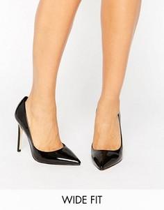Черные лакированные туфли-лодочки для широкой стопы Faith Chloe - Черный