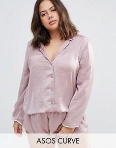 Атласная пижама с окантовкой и шортами ASOS CURVE Miley - Розовый