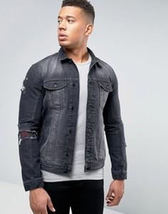 Джинсовая куртка с заплатками Religion - Черный