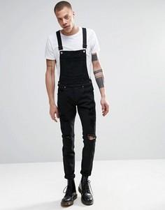 Черный джинсовый комбинезон скинни с прорехами Dr Denim Ira - Черный