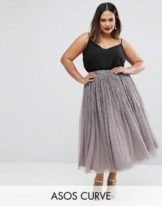 Декорированная юбка для выпускного из тюля ASOS CURVE - Серый
