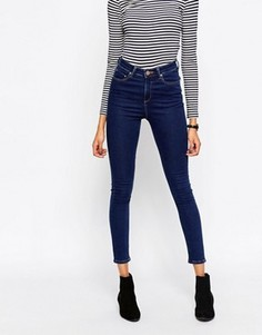 Темно-синие облегающие джинсы с завышенной талией ASOS Ridley - Синий