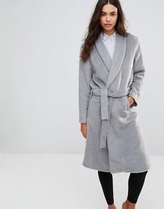 Пальто в стиле халата с поясом-завязкой Unique 21 - Серый