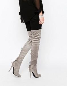Ботфорты на каблуке Public Desire Colette - Серый