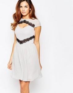 Короткое приталенное платье с контрастным кружевом Elise Ryan - Серый