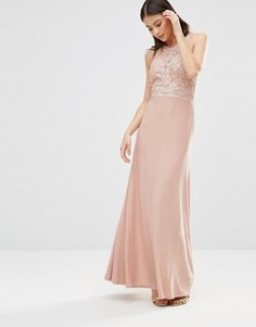 Платье макси с ажурным кружевом на лифе AX Paris - Кремовый