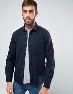 Свободная темно-синяя рубашка с двумя карманами ASOS - Темно-синий