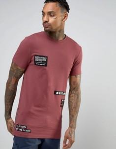 Длинная футболка облегающего кроя с ткаными нашивками и молниями ASOS - Красный