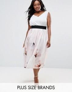 Плиссированная юбка с цветочным принтом Elvi Plus - Розовый