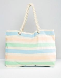 Пляжная сумка с пастельными полосками South Beach - Мульти