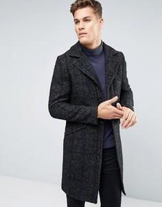 Шерстяное пальто с узором в елочку и полосками Sisley - Серый