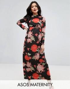 Платье макси для беременных с цветочным принтом ASOS Maternity - Мульти