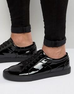 Черные лакированные кроссовки на шнуровке ASOS - Черный