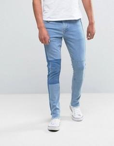 Голубые укороченные суперузкие джинсы с нашивками ASOS - Синий
