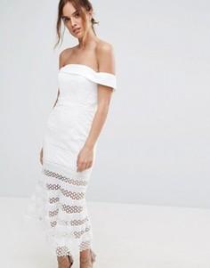 Платье миди с открытыми плечами и полупрозрачной юбкой в полоску Jarlo Kavita - Белый