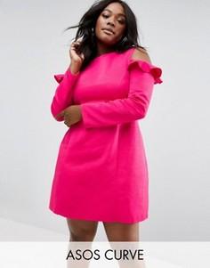 Платье с вырезами на плечах ASOS CURVE - Розовый