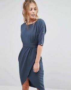 Платье миди с запахом и рукавами 3/4 Closet - Синий