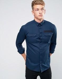 Узкая рубашка с карманами в стиле милитари и отделкой Jack & Jones Core - Темно-синий