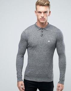 Черно-белое облегающее поло из меланжевого трикотажа с вышивкой ASOS - Серый