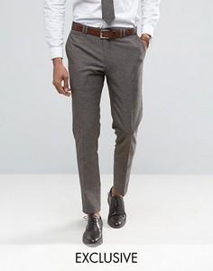 Зауженные брюки из ткани с добавлением льна в крапинку Noak - Коричневый
