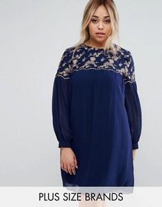 Цельнокройное платье с цветочной вышивкой Little Mistress Plus - Темно-синий