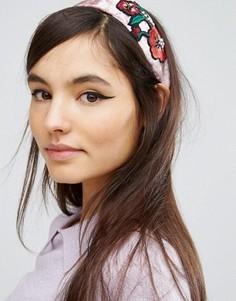 Бархатная повязка на голову ограниченной серии с вышивкой - Мульти Asos