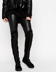 Сапоги выше колен со шнуровкой и плоской подошвой Truffle Collection - Черный