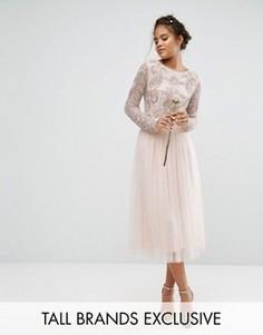 Комбинируемая пышная юбка миди из тюля с атласным поясом и бантом сзади Maya Tall - Розовый