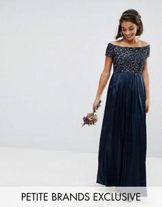 Платье макси с отделкой пайетками на лифе и сатиновой юбкой Maya Petite - Темно-синий