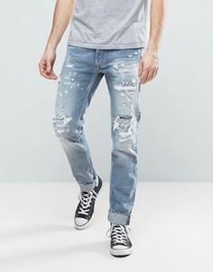 Узкие светлые джинсы с прорехами Replay Ronas - Синий