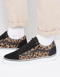 Черные кроссовки с леопардовым принтом Vans Old Skool VA31Z9LYN - Черный