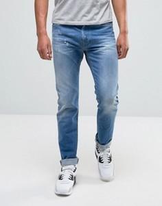 Голубые джинсы слим с рваной отделкой Replay Anbass Powerstretch - Синий