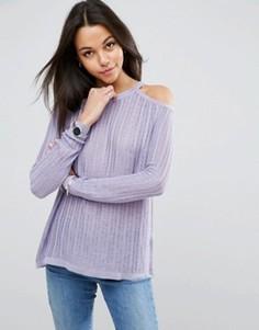 Ажурный джемпер с открытыми плечами ASOS - Фиолетовый