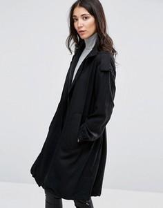 Свободное драпированное пальто Selected Vivi - Черный