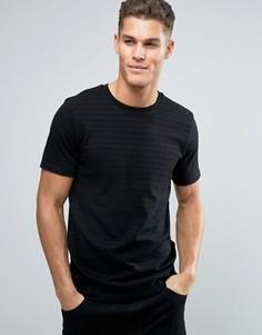 Премиальная футболка в рубчик Jack & Jones - Черный