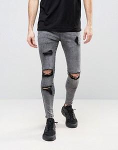Суперзауженные джинсы с рваной отделкой SikSilk - Серый