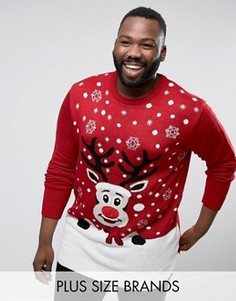 Красный музыкальный джемпер с оленем Duke PLUS Christmas - Красный