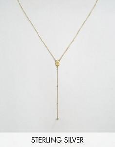 Позолоченное ожерелье с медальоном Mother Mary с лабрадоритом Dogeared - Золотой