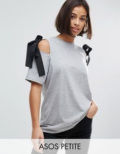 Топ с открытыми плечами и ткаными завязками ASOS PETITE - Серый